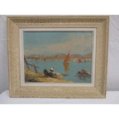 Marine, huile sur toile signée Riccy