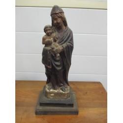 Statue Vierge à l'enfant en bois du 18ème siècle