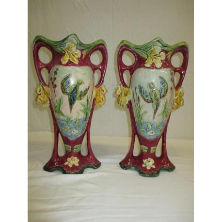 Vases en barbotine décor martin pêcheur